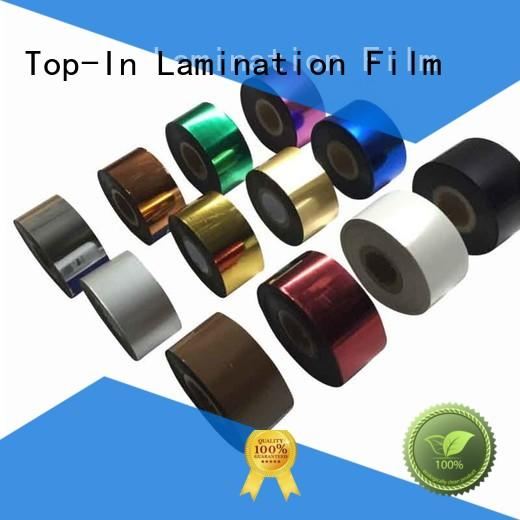 Top-In hot stamping heat transfer film design for certificates