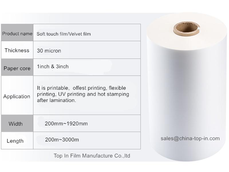 30mic transparent soft touch film/ Bopp  velvet lamination film